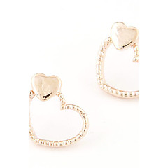Women's European Style Fashion Sweet Loving Heart Alloy Stud Earrings