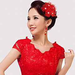 Vrouwen Net / Kunststof Helm-Bruiloft / Speciale gelegenheden Bloemen 1 Stuk Roze / Rood / Wit