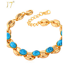 U7® Women's Turquoise New 18K Real Gold Plated Turkey Stone Jewelry Resizable Chain Bracelet