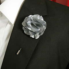 Men's Casual Grey Silk Goods Brooch