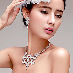 Butterfly-shaped Rhinestone/Titanium Necklace With Earings