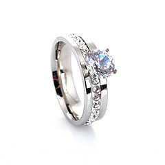 Women's Band Rings Love European Luxury Fashion Costume Jewelry Gemstone Crystal Imitation Diamond Alloy Four Prongs Jewelry For Wedding