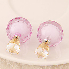 Women's European Style Fashion Candy-colored Shiny Beads Stud Earrings With Rhinestone