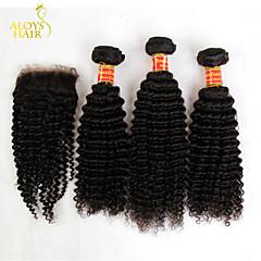 שיער 3 חבילות ברזילאי קינקי מתולתל בתולה עם סגירת מארג אנושי לא מעובד שיער וסגרים תחרה חופשיים / אמצע חלק