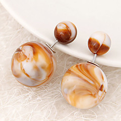Women's European Style Fashion Candy Color Beads Double Side Resin Stud Earrings