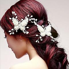 成人用 アクリル かぶと-結婚式 / パーティー ヘアクリップ 1個 ホワイト 花型