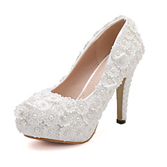Women's Shoes Lace/Tulle Stiletto Heel Round Toe Pumps Wedding