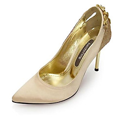 Women's Shoes Silk/Glitter Stiletto Heel Heels/Pointed Toe Pumps/Heels Wedding/Party & Evening/Dress Black/Gold