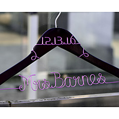 Personalized Custom Wedding Dress Hanger with Wire Name and Date at Top