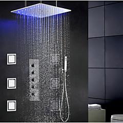 """Kortárs / Modern Zuhany rendszer LED / Zuhany """"eső""""szórófej / széles spary / Kézi zuhanyzót tartalmaz with  KerámiaszelepEgy fogantyú"""