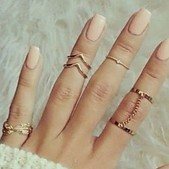 Midi Rings Knuckle Ring Fashion Alloy Leaf Gold Silver Jewelry For Party Daily 1set