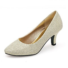 Women's Shoes Silk Chunky Heel Round Toe Pumps Wedding and Party More Colors available