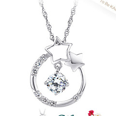 Women's Sterling Silver Necklace With Cubic Zirconia