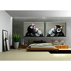 Kézzel festett Állat / PopKlasszikus / Tradicionális Két elem Vászon Hang festett olajfestmény For lakberendezési
