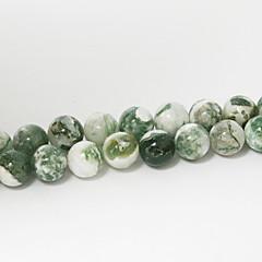 beadia 39cm / str (כ 48pcs) חרוזים עץ טבעי ברקת 8mm חרוזים רופפים אבן עגולה אביזרי DIY