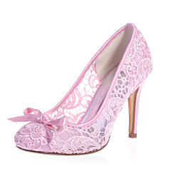 Women's Shoes Lace Stiletto Heel Round Toe Pumps/Heels Wedding/Party & Evening Black/Pink/Ivory/White