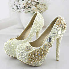 Women's Shoes Stiletto Heel Heels Crystal Pearl Pumps/Heels Wedding/Party & Evening/Dress White