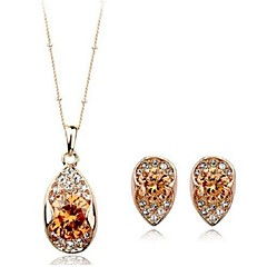 Korea Style Drop Shape Crystal Zircon Necklace Earring Jewelry Sets(Champagne)(1Sets)