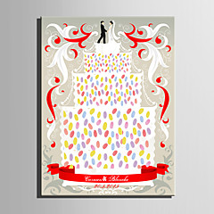 E-HOME® Personalized Fingerprint Painting Canvas Prints - Multi Layer Cake on The Wedding (Includes 12 Ink Colors)