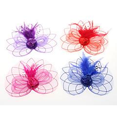 Femme Plume / Tulle Casque-Mariage / Occasion spéciale / Décontracté / Extérieur Coiffure / Fleurs / Chapeau / Pique cheveux 1 Pièce