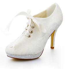 Women's Fall / Winter Heels / Platform Stretch Satin Wedding / Dress Stiletto Heel Ribbon Tie Ivory