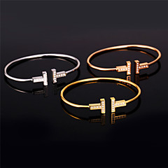 U7® Unisex AAA+ Cubic Zirconia 18K Gold Plated Bangles for Women/Men Platinum/Rose Gold Plated T Shape Cuff Bracelet