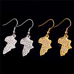 模造ダイヤモンド アフリカ クリスタル ゴールド ラインストーン 地図 ゴールド シルバー 1×ネックレス 1×イヤリング(ペア) のために 結婚式 日常 1セット ウェディングギフト