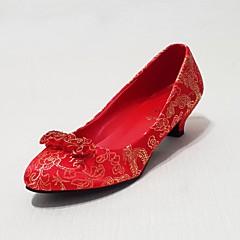 Women's Shoes Silk Low Heel Heels/Basic Pump Pumps/Heels Wedding/Party & Evening/Casual Red