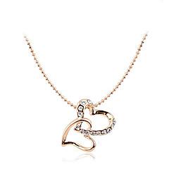 Korean Fashion Drill Double Hearts Pendant Alloy Necklace