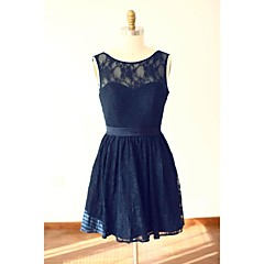 Knee-length Lace / Satin Bridesmaid Dress - A-line Scoop with Lace / Sash / Ribbon