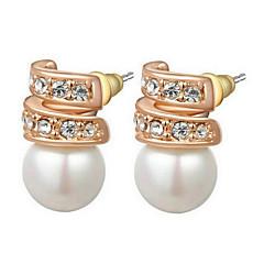 Stud Earrings Women's Imitation Pearl Earring Cubic Zirconia