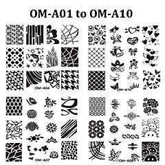 Bloem - Vinger / Teen - Andere versieringen - Metaal - 10pcs nail plate - stuks 6.2cmX6.2cm each piece - ( cm )