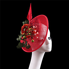 Women Red Sinamay Flowers Headbands Fascinators Feather Wedding Kentucky Derby Hats
