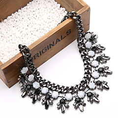 Fashion Vintage Black Layer Gemstone Crystal Flower Teardrop Pendant Statement Necklace