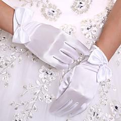 Handgelenk-Länge Fingerspitzen Handschuh Stretch - Satin Brauthandschuhe Herbst Frühling Schleife