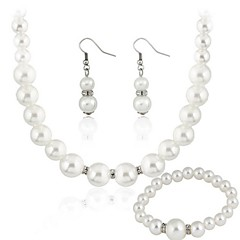 Jewelry Set Women's Gift / Party Jewelry Sets Imitation Pearl Rhinestone Earrings / Necklaces White