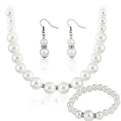 Conjunto de jóias Mulheres Presente / Festa Conjuntos de Joalharia Imitação de Pérola Strass Colares / Brincos Branco