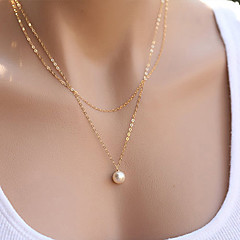 Women's Pendant Necklaces Pearl Necklace Jewelry Pearl Alloy Fashion Simple Style Double-layer Costume Jewelry Jewelry For Party Daily
