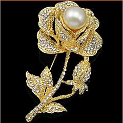 女性 ブローチ 真珠 模造ダイヤモンド ファッション ゴールド ジュエリー 結婚式 パーティー 誕生日 日常