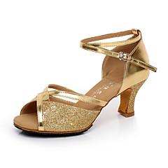 Non Customizable Women's Dance Shoes Latin / Salsa Satin / Flocking Chunky Heel