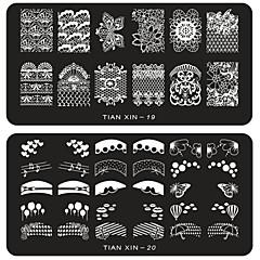 Flor - Dedo / Dedo del Pie - Otras Decoraciones - Metal - 6pcs nail plates - 12cmX6cm each piece - (cm)