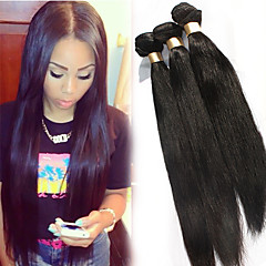 Luffy Hair Unprocessed Brazilian Silky Straight Hair Weave Natural Color Virgin Hair Straight Extensions 3pcs/set
