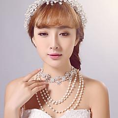 여성용 기념일 / 웨딩 / 약혼 / 생일 / 선물 / 파티 / 특별한날 목걸이 라인석 모조 진주 / 합금