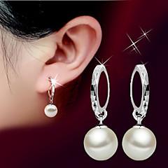 Dames Druppel oorbellen Parel Basisontwerp Birthstones Geboortestenen Modieus Eenvoudige Stijl Parel Sterling zilver Bal Sieraden Voor