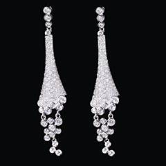 Gorgeous Platinum Plated With Cubic Zirconia Earrings