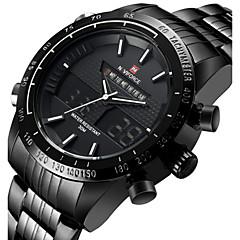 NAVIFORCE Herren Sportuhr Armbanduhr Japanisch Quartz LED Kalender Wasserdicht Duale Zeitzonen Alarm Stopuhr Edelstahl Band Cool Luxuriös