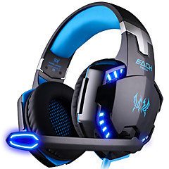 KOTION EACH G2000 Over Ear Headband Wired Headphones Plastic Gaming Earphone Noise-isolating with Microphone with Volume Control Luminous