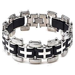 Men's Fashion Silica Gel and Titanium Steel Cross Shape Bracelet (1.6cm*22.3cm) Christmas Gifts