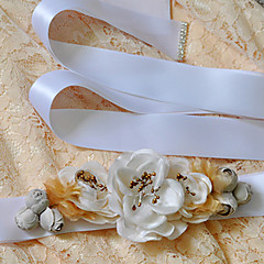Satin Wedding / Party/ Evening / Dailywear Sash-Beading / Appliques / Floral Women's 98 ½in(250cm) Beading / Appliques / Floral
