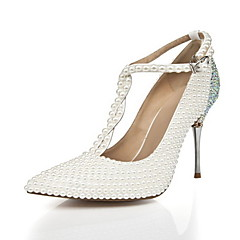 Women's Shoes Leather / Synthetic Stiletto Heel Heels Heels Wedding / Party & Evening / Dress Silver